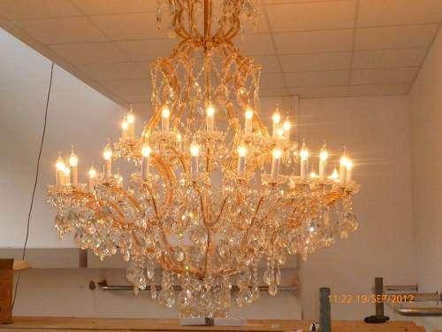 Aranas de cristal maria teresas italianas desde s/.400 cromadas o doradas instaladas.