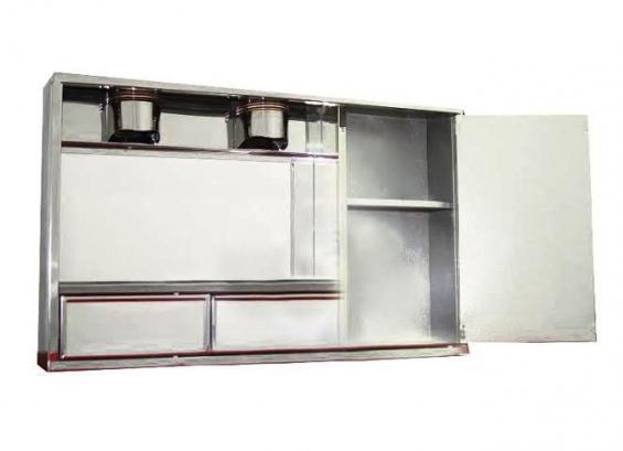 """Modelo """"valentina"""" con foco  caja:  24 x 15    puertas de costado:  14 x 8    cajones:  8 x 3     costo:    esmaltado  con marcos y borde acerado: s/. 90    (nuevos  soles)  acero:  s/.  120 (nuevos  soles)"""