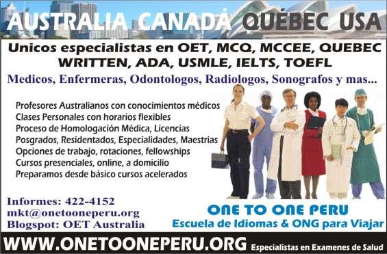 Examenes de salud oet, ielts, toefl, mcq, mccee, written