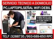 Servicio tecnico a Pc laptops internet wifi,redes wifi,cableados,a domicilio oficinas