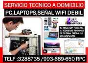 Soporte tecnico a computadoras,internet wifi,laptops,a domicilio oficinas