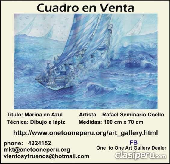 """Cuadro en venta """"marina en azul"""""""