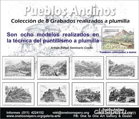 Pueblos andinos 8 grabados colección