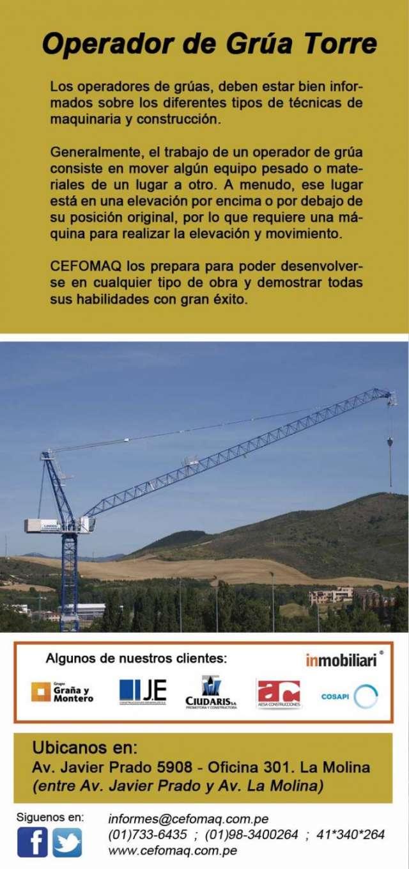 Capacitacion y certificacion para operadores de grua torre