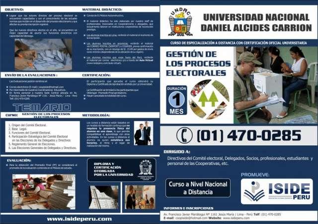 Curso de especialización en gestion de los procesos electorales
