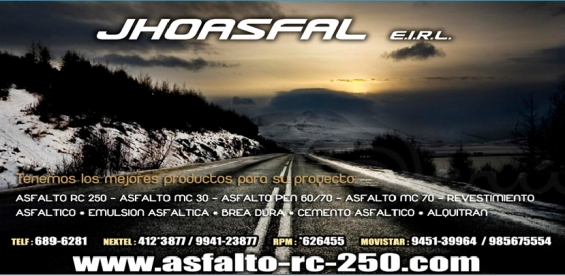 Venta de asfalto en caliente / trabajo de asfaltado cajamarca