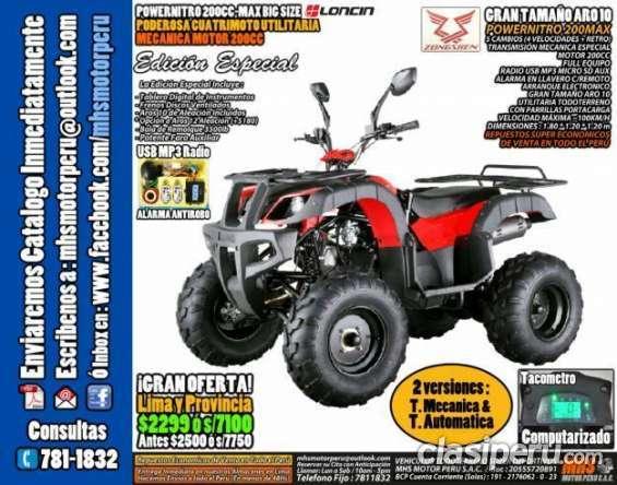 Tengo para ofrecer ¡remate! nuevas cuatrimoto moto powernitro zongshen 200cc fulleq edicion especial aro10 somos empresa para especialistas.