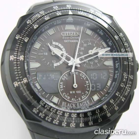 Casi nuevo reloj citizen eco drive skyhahw black eagle original super oferta.