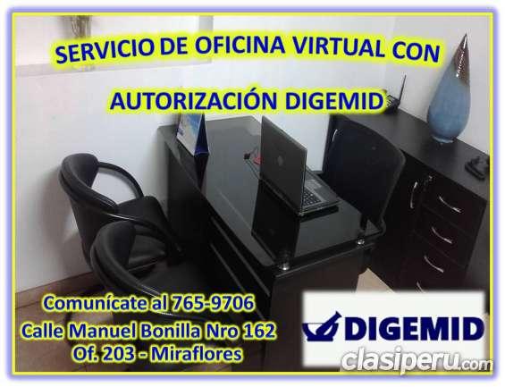 Alquilo oficina virtual con autorización de digemid-miraflores.