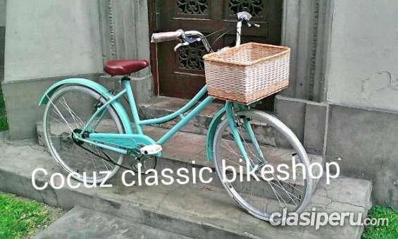 Vendo! bicicleta vintage paseo retro nueva!! con canasta para mujer remato urgente.