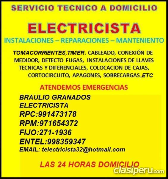 Electricista san borja domicilio garantia 991473178 - 971654372