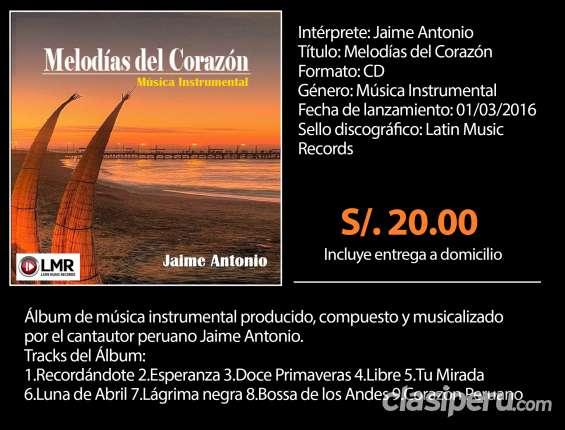 Venta cd álbum melodías del corazón/jaime antonio/música instrumental