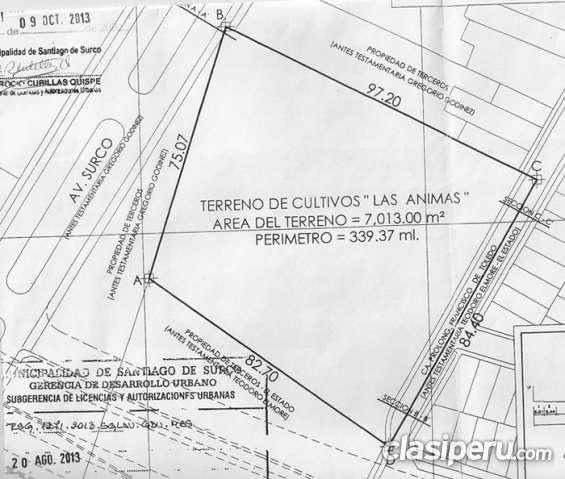 Santiago surco terreno intersección vía expresa con avda. surco y francisco de toledo