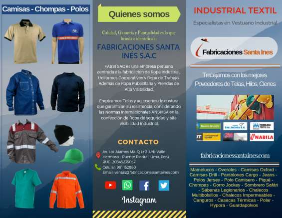 Catalogo de productos , ropa industrial